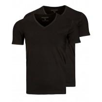COMMANDER T-Shirt Doppelpack Theo V-Ausschnitt - Schwarz