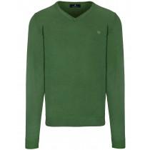 V-Pullover Uni - Cactus Green Meliert