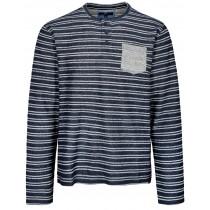 Henley Shirt 1/1 Streifen - Blue Navy