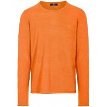 Merinowolle Rundhals Pullover - Orange Melange