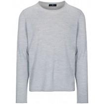 Merinowolle Rundhals Pullover - Silber Melange