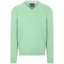 V-Pullover Cotton Stretch - Coast Green Melange