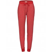 Homewear Pyjama Ringelhose mit Kordelzug - Rot Silver Melange