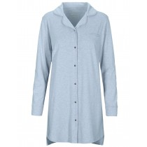 HOMEWARE Nachthemd mit Knopfleiste - Blue Melange