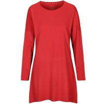 HOMEWARE Nachthemd mit Kontrast-Paspelierung - Rot