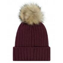 Mütze Fake Bommel - Burgundy