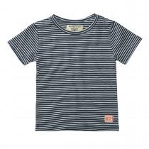 BASEFIELD T-Shirt mit Logo-Patch am Saum - Navy Streifen