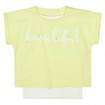 T-Shirt 2in1 mit Wording-Print - Lemon